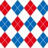 青・白・赤のトリコロールカラーアーガイルチェックパターン