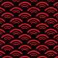 赤と黒を使った荒々しい波模様のパターン
