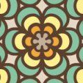 レトロな風合いの、花柄シームレスパターン