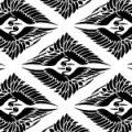 白黒の菱形鶴の和柄パターン